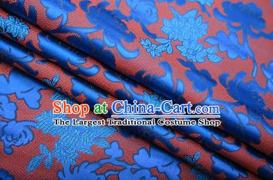 Chinese Traditional Apparel Blue Brocade Fabric Classical Peony Chrysanthemum Pattern Design Material Satin Drapery