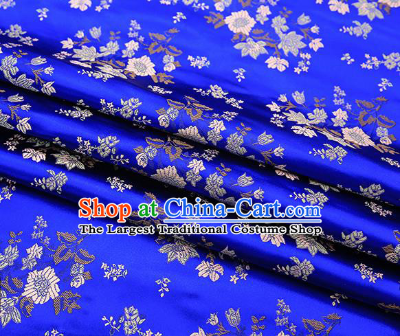Traditional Chinese Royalblue Brocade Fabric Tang Suit Classical Petunia Pattern Design Satin Material Drapery
