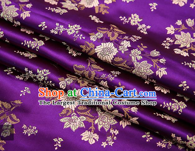Traditional Chinese Purple Brocade Fabric Tang Suit Classical Pattern Design Satin Material Drapery