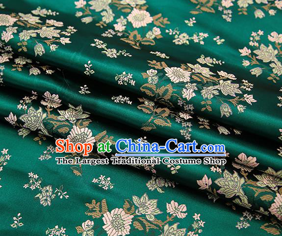 Traditional Chinese Atrovirens Brocade Fabric Tang Suit Classical Petunia Pattern Design Satin Material Drapery