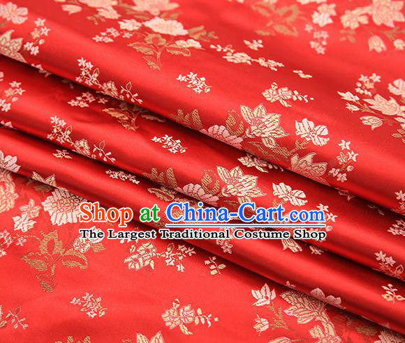 Traditional Chinese Red Brocade Fabric Tang Suit Classical Pattern Design Satin Material Drapery