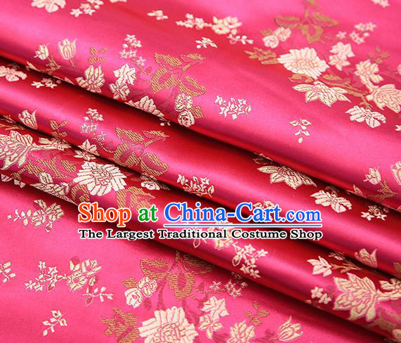 Traditional Chinese Rosy Brocade Fabric Tang Suit Classical Pattern Design Satin Material Drapery