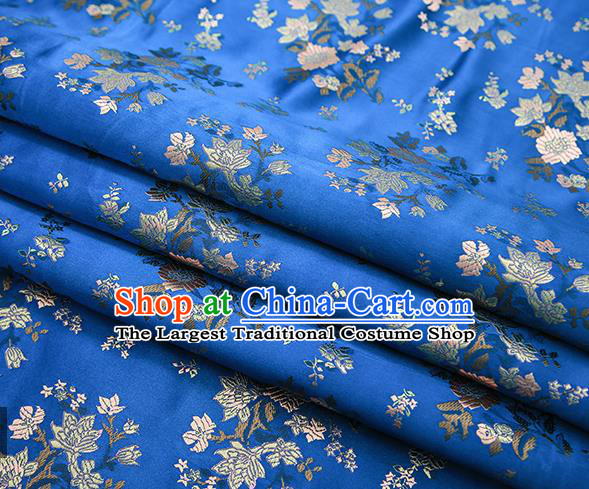 Traditional Chinese Blue Brocade Fabric Tang Suit Classical Pattern Design Satin Material Drapery