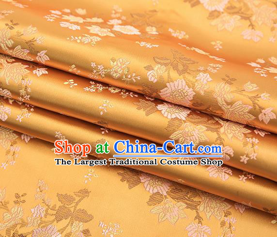 Traditional Chinese Golden Brocade Fabric Tang Suit Classical Pattern Design Satin Material Drapery