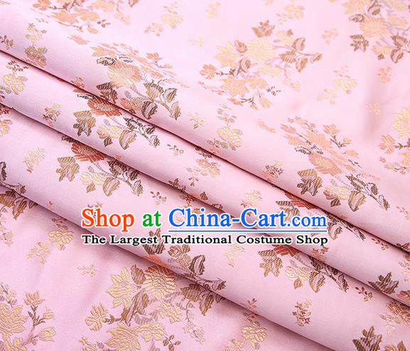 Traditional Chinese Pink Brocade Fabric Tang Suit Classical Pattern Design Satin Material Drapery