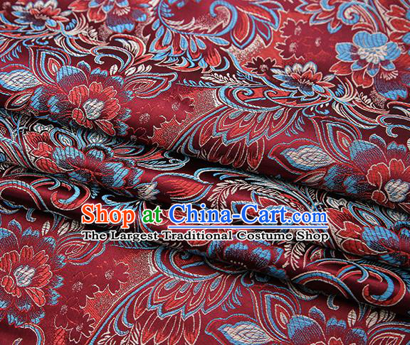 Chinese Traditional Purplish Red Satin Brocade Fabric Tang Suit Classical Pattern Design Material Drapery