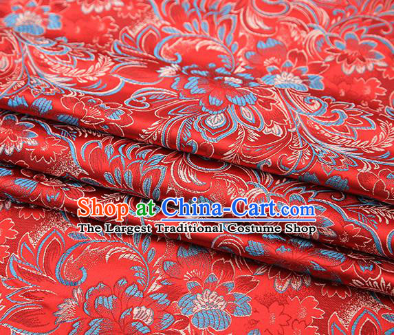 Chinese Traditional Red Satin Brocade Fabric Tang Suit Classical Pattern Design Material Drapery