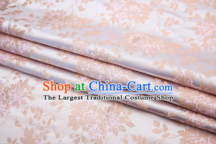 Chinese Traditional Pink Satin Brocade Fabric Qipao Dress Classical Roses Pattern Design Material Drapery