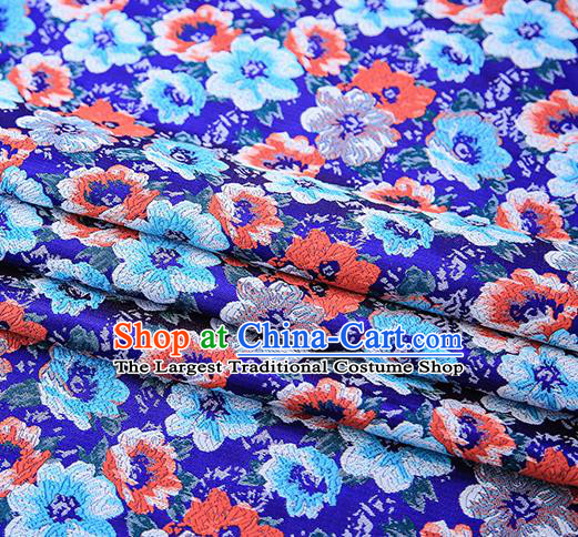 Top Grade Royalblue Satin Chinese Traditional Brocade Fabric Qipao Dress Classical Pattern Design Material Drapery