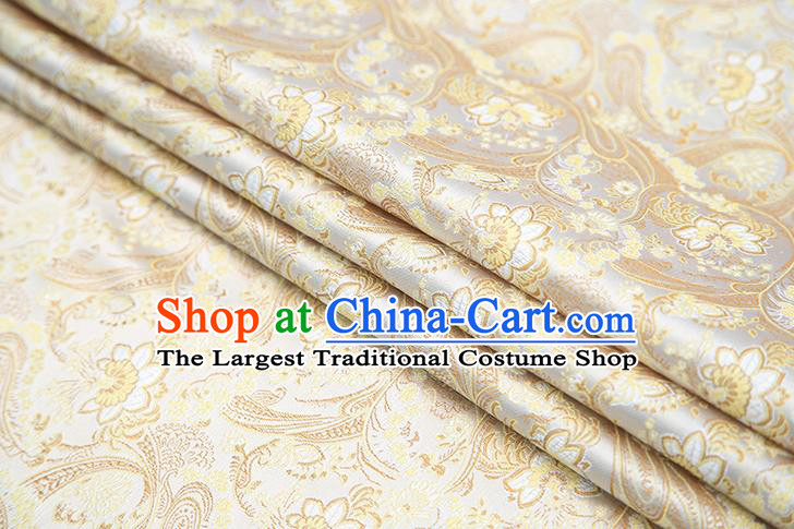 Top Grade Golden Satin Chinese Traditional Brocade Fabric Qipao Dress Classical Lotus Pattern Design Material Drapery