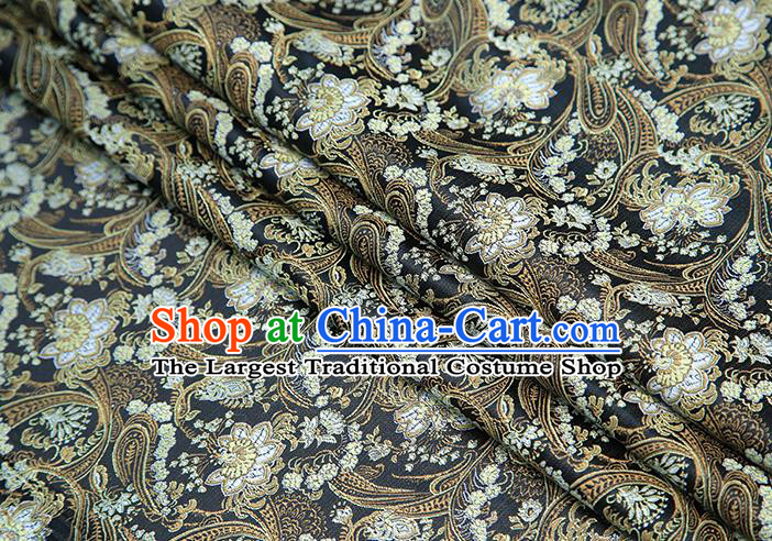 Top Grade Black Satin Chinese Traditional Brocade Fabric Qipao Dress Classical Lotus Pattern Design Material Drapery