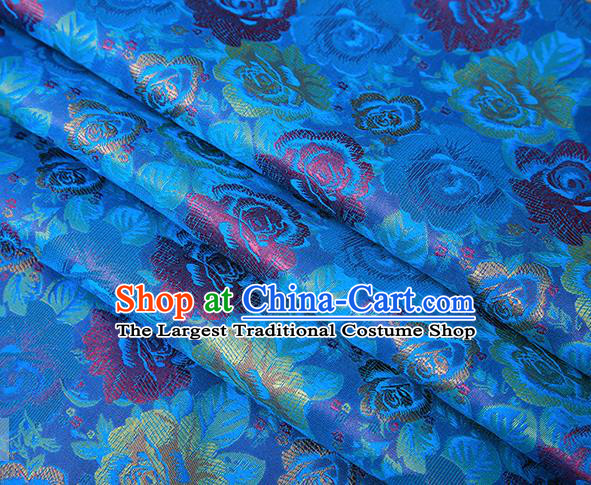 Chinese Traditional Jacquard Fabric Qipao Dress Blue Brocade Classical Roses Pattern Design Satin Material Drapery