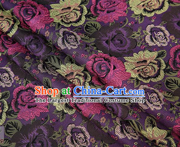 Chinese Traditional Jacquard Fabric Qipao Dress Purple Brocade Classical Roses Pattern Design Satin Material Drapery
