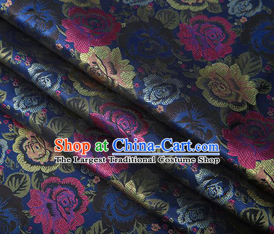 Chinese Traditional Jacquard Fabric Qipao Dress Navy Brocade Classical Roses Pattern Design Satin Material Drapery