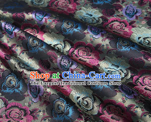 Chinese Traditional Jacquard Fabric Qipao Dress Grey Brocade Classical Roses Pattern Design Satin Material Drapery