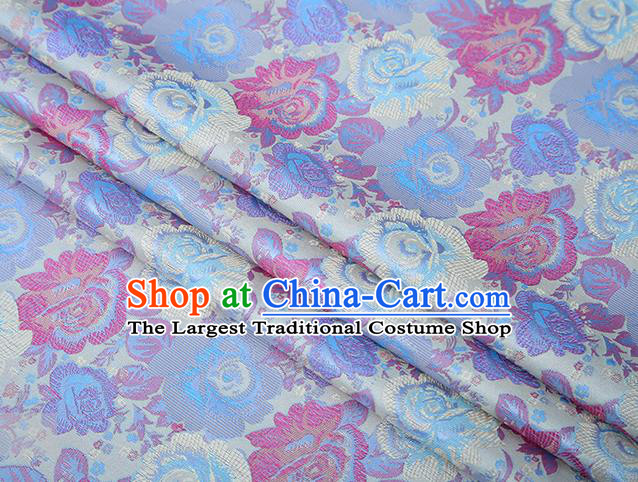 Chinese Traditional Jacquard Fabric Qipao Dress White Brocade Classical Roses Pattern Design Satin Material Drapery