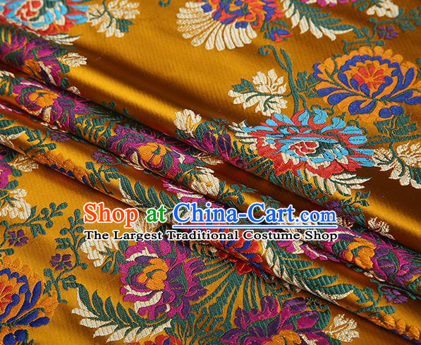 Top Grade Chinese Traditional Golden Satin Fabric Tang Suit Brocade Classical Embroidery Flower Pattern Design Material Drapery