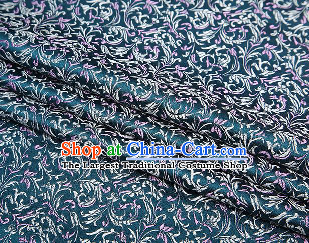 Top Grade Chinese Traditional Atrovirens Brocade Fabric Tang Suit Satin Material Classical Pattern Design Drapery