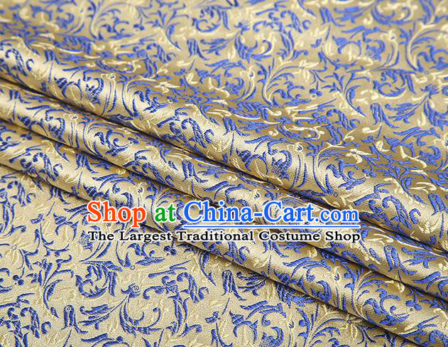 Top Grade Chinese Traditional Golden Brocade Fabric Tang Suit Satin Material Classical Pattern Design Drapery