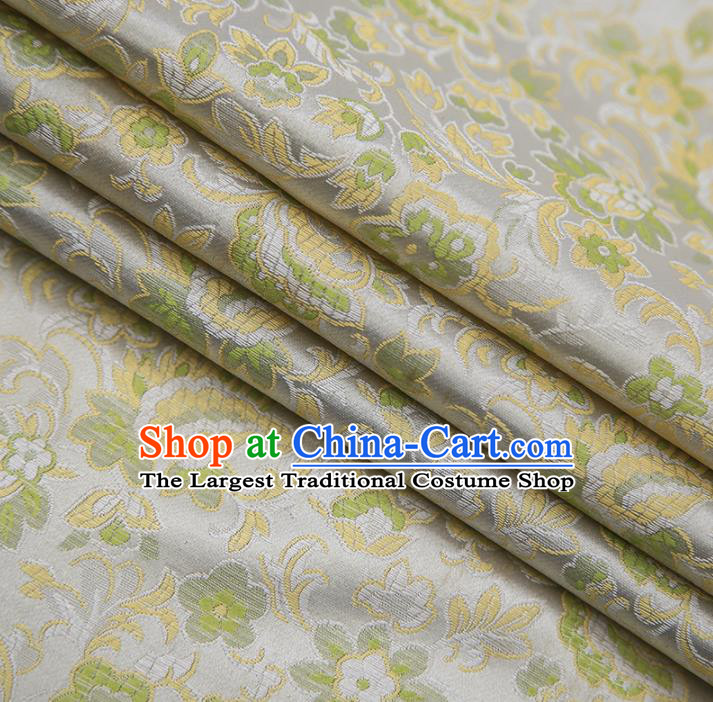 Chinese Traditional Apparel Light Green Brocade Fabric Classical Flowers Pattern Design Material Satin Drapery