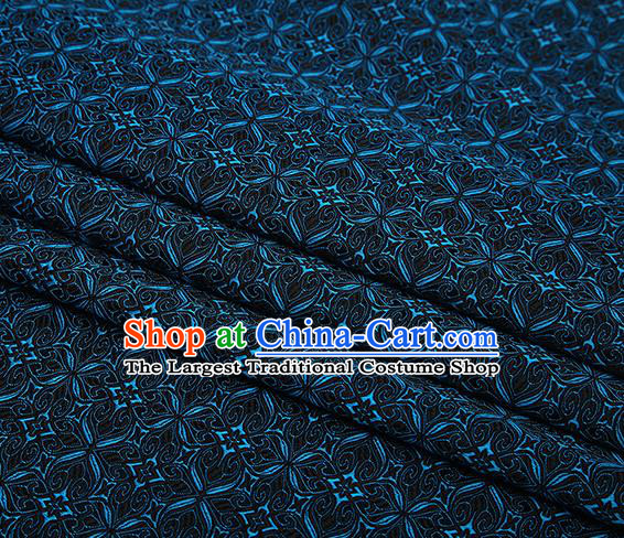 Top Grade Chinese Traditional Navy Brocade Fabric Tang Suit Satin Material Classical Pattern Design Drapery