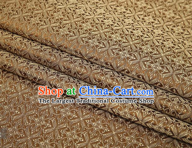 Top Grade Chinese Traditional Brown Brocade Fabric Tang Suit Satin Material Classical Pattern Design Drapery