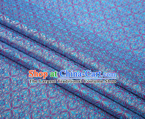 Top Grade Chinese Traditional Blue Brocade Fabric Tang Suit Satin Material Classical Pattern Design Drapery