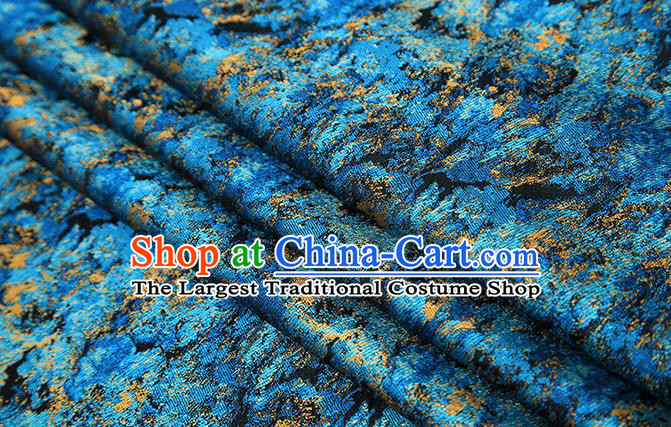Chinese Traditional Blue Brocade Satin Fabric Tang Suit Material Classical Pattern Design Drapery