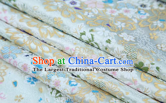 Chinese Traditional White Brocade Satin Fabric Tang Suit Material Classical Pattern Design Drapery