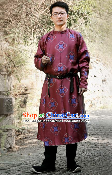 Chinese Ancient Tang Dynasty Red Round Collar Robe Swordsman Imperial Bodyguard Costumes for Men