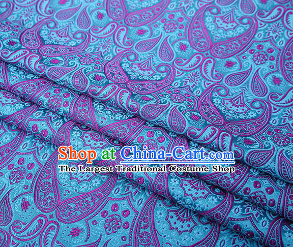 Chinese Traditional Light Blue Satin Fabric Tang Suit Brocade Classical Loquat Flower Pattern Design Material Drapery