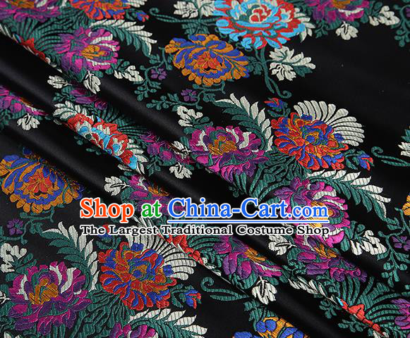 Top Grade Chinese Traditional Black Satin Fabric Tang Suit Brocade Classical Embroidery Flower Pattern Design Material Drapery