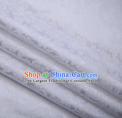 Chinese Traditional Apparel White Brocade Fabric Classical Flowers Pattern Design Material Satin Drapery