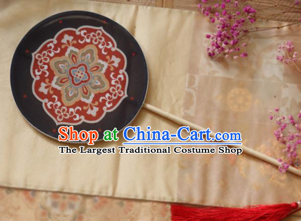 Chinese Ancient Palace Fans Hanfu Black Silk Round Fans for Women
