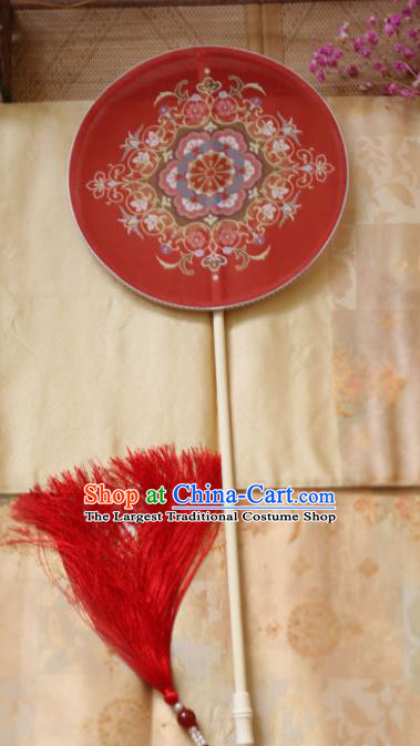 Chinese Ancient Palace Fans Hanfu Red Silk Round Fans for Women
