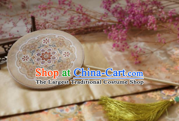 Chinese Ancient Palace Fans Hanfu White Silk Round Fans for Women