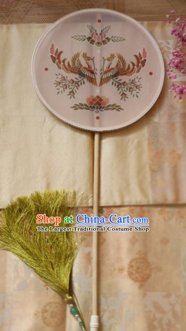 Chinese Ancient Palace Fans Hanfu Printing Phoenix Silk Round Fans for Women