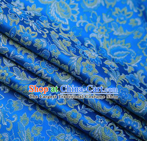 Chinese Traditional Apparel Blue Brocade Fabric Classical Flowers Pattern Design Material Satin Drapery