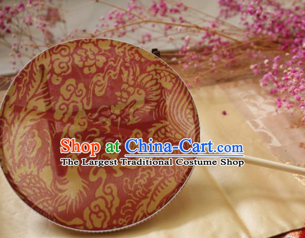 Chinese Ancient Palace Fans Hanfu Red Silk Phoenix Round Fans for Women
