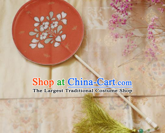 Chinese Ancient Handmade Palace Fans Traditional Hanfu Red Silk Round Fans for Women