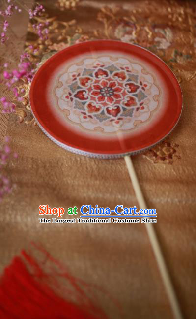 Chinese Ancient Handmade Red Palace Fans Traditional Hanfu Round Fans for Women