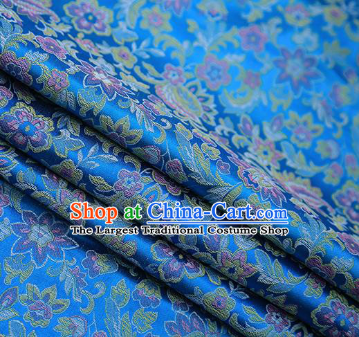 Chinese Traditional Apparel Blue Brocade Fabric Classical Pink Flowers Pattern Design Material Satin Drapery