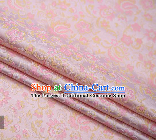 Chinese Traditional Apparel Pink Brocade Fabric Classical Flowers Pattern Design Material Satin Drapery