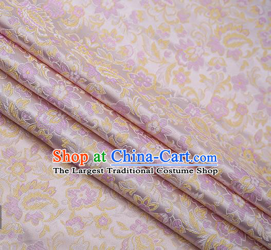 Chinese Traditional Apparel Lilac Brocade Fabric Classical Flowers Pattern Design Material Satin Drapery