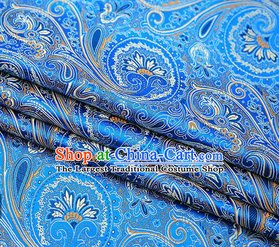 Chinese Traditional Tang Suit Blue Brocade Fabric Classical Pattern Design Material Satin Drapery