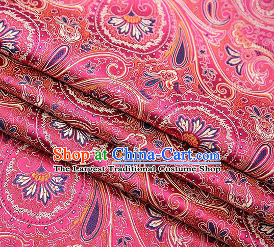 Chinese Traditional Tang Suit Rosy Brocade Fabric Classical Pattern Design Material Satin Drapery