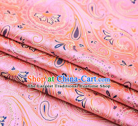 Chinese Traditional Tang Suit Pink Brocade Fabric Classical Pattern Design Material Satin Drapery