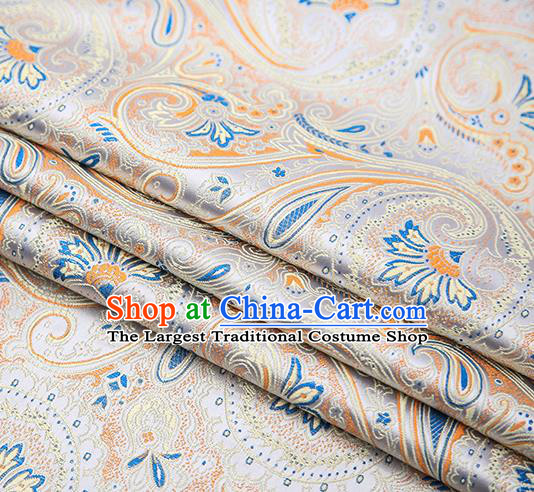 Chinese Traditional Tang Suit White Brocade Fabric Classical Pattern Design Material Satin Drapery