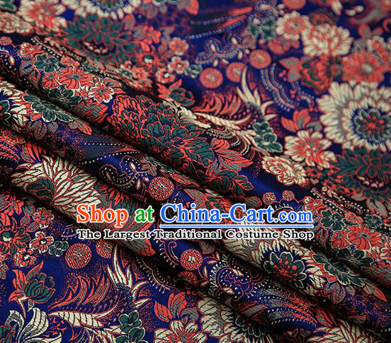 Chinese Traditional Tang Suit Royalblue Brocade Fabric Classical Chrysanthemum Pattern Design Material Satin Drapery