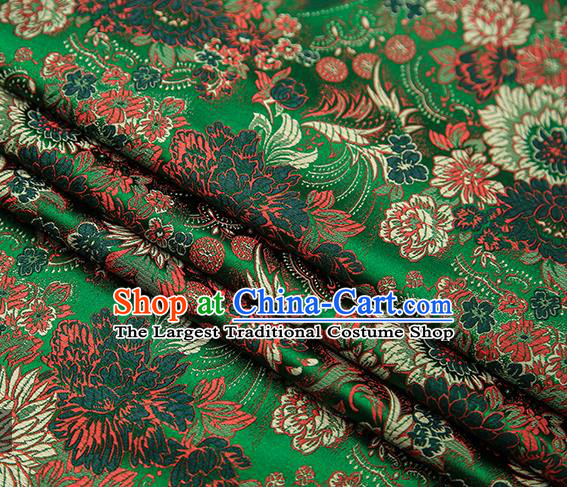 Chinese Traditional Tang Suit Green Brocade Fabric Classical Chrysanthemum Pattern Design Material Satin Drapery